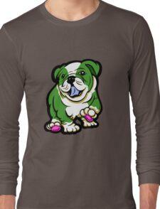 Happy Bulldog Puppy Green and White  Long Sleeve T-Shirt
