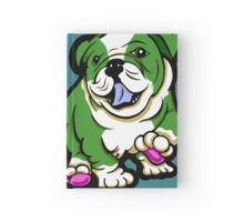 Happy Bulldog Puppy Green and White  Hardcover Journal