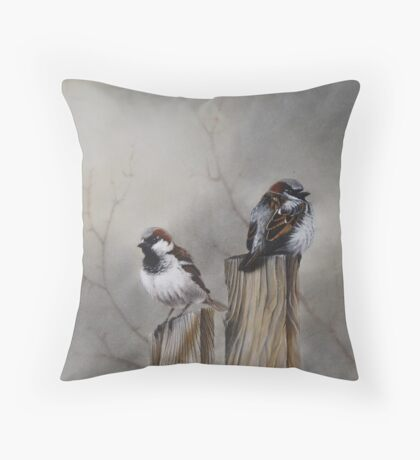 """Spuggies on the fence"" Throw Pillow"