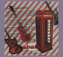 modern british rock music london telephone retro guitar  Kids Tee