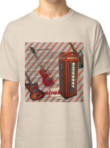 modern british rock music london telephone retro guitar  Classic T-Shirt