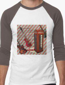 modern british rock music london telephone retro guitar  Men's Baseball ¾ T-Shirt