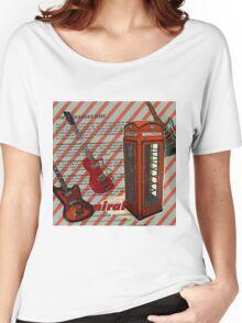 modern british rock music london telephone retro guitar  Women's Relaxed Fit T-Shirt