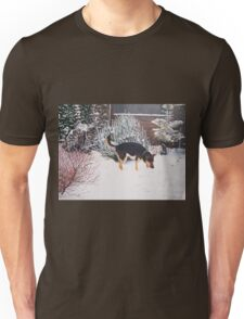 Winter snow scene with cute black and tan dog  Unisex T-Shirt