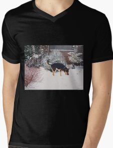 Winter snow scene with cute black and tan dog  Mens V-Neck T-Shirt