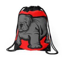 Grumpy Bull Dog Puppy Grey Drawstring Bag