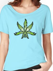 Cannabis Leaf Abstract Green Women's Relaxed Fit T-Shirt