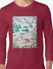 cute fox and rabbits christmas snow scene Long Sleeve T-Shirt