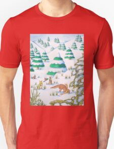 cute fox and rabbits christmas snow scene Unisex T-Shirt