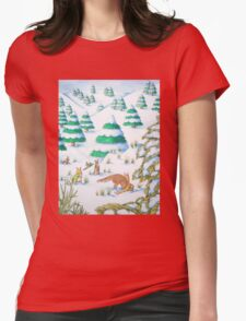 cute fox and rabbits christmas snow scene Womens Fitted T-Shirt