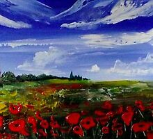 Panoramic Poppy Field by Cherie Roe Dirksen