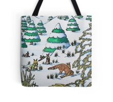 cute fox and rabbits christmas snow scene Tote Bag