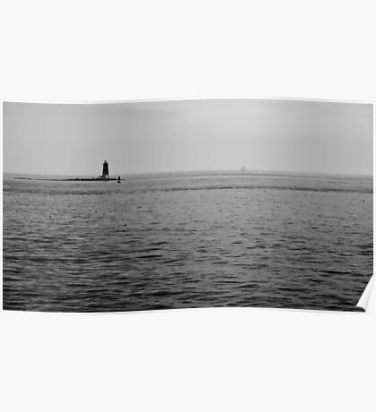 Lighthouse at Sea Poster