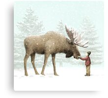 Boy and Moose Canvas Print