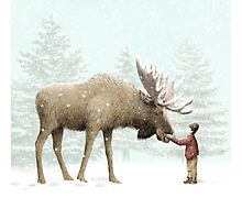Boy and Moose Photographic Print