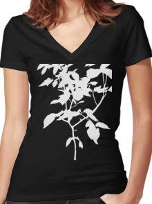 White Nature Women's Fitted V-Neck T-Shirt