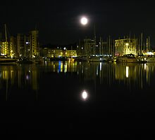 Full Moon Over Ipswich Waterfront  by wiggyofipswich