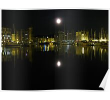 Full Moon Over Ipswich Waterfront  Poster