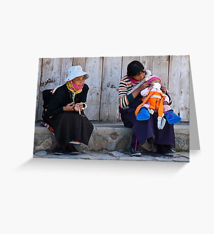 Lhamassery women. A dash of orange modernism Greeting Card
