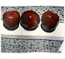 Plums on a plank on a patio Poster