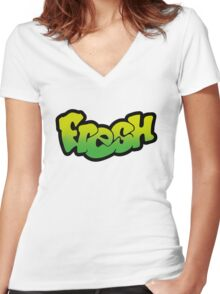 Fresh (Prince) - Classic Green Women's Fitted V-Neck T-Shirt