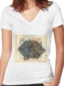 MATRIX PATTERN Women's Fitted V-Neck T-Shirt