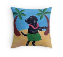 Aloha Black Labrador Throw Pillow