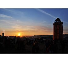 The Ribbon Tower by Sunset, Glastonbury Photographic Print