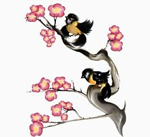 Two Sparrows On A Branch Womens Fitted T-Shirt