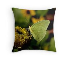 Green Butterfly with a Little Girl's Face Throw Pillow