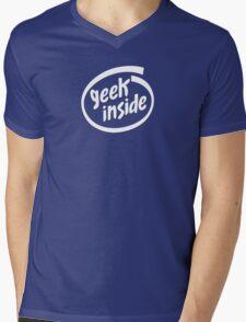 Geek Inside - White Mens V-Neck T-Shirt