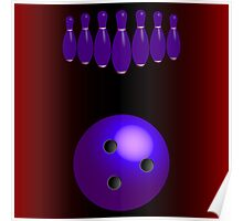 Bowling pins and ball Poster