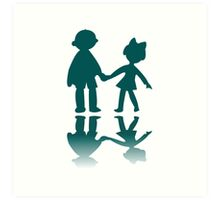 Boy and girl blue silhouettes Art Print