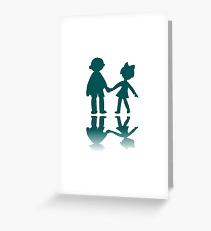 Boy and girl blue silhouettes Greeting Card
