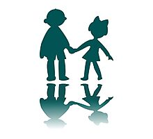 Boy and girl blue silhouettes Photographic Print