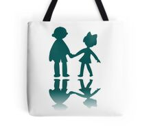 Boy and girl blue silhouettes Tote Bag