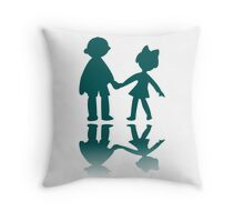 Boy and girl blue silhouettes Throw Pillow
