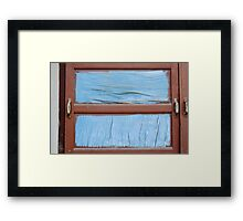 coarse old wood painted Framed Print