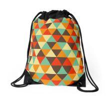 Retro geometric pattern in contrast gamma Drawstring Bag