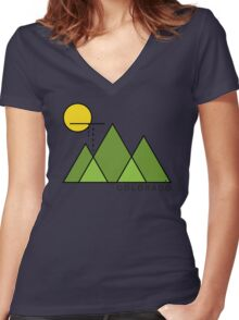 Minimal Colorado Women's Fitted V-Neck T-Shirt