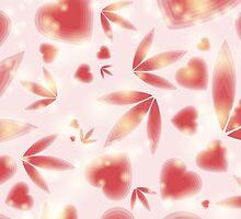 Red hearts and foliage by miroshina