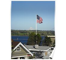Mount Hood And Flag Poster
