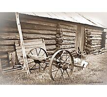 Log Gaol and Wagon Photographic Print
