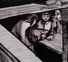 IN WINE CELLAR(C1981)(V2 - INK) by Paul Romanowski