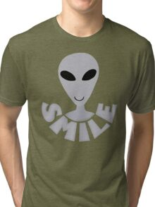 SMILE! Happy Alien LGM In Gray Tri-blend T-Shirt