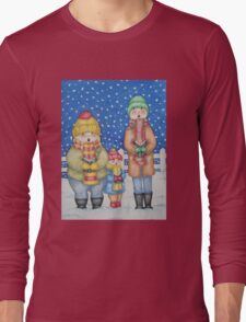 funny carol singers in the snow Christmas art Long Sleeve T-Shirt