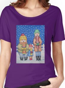 funny carol singers in the snow Christmas art Women's Relaxed Fit T-Shirt
