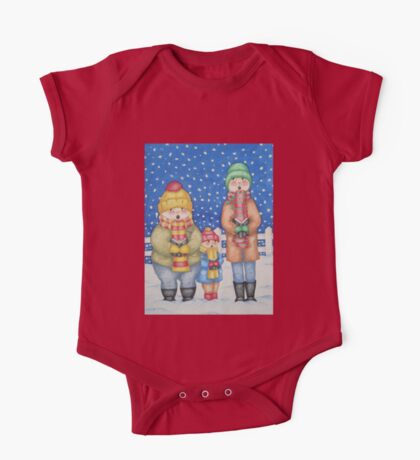 funny carol singers in the snow Christmas art One Piece - Short Sleeve