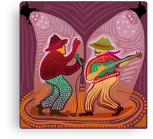 cheerful music band performing on stage Canvas Print