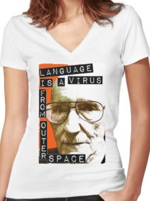 Language is a virus from outer space! Women's Fitted V-Neck T-Shirt